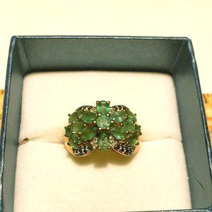 Emerald  & Dia ring in 14K over 925 Silver sz 7